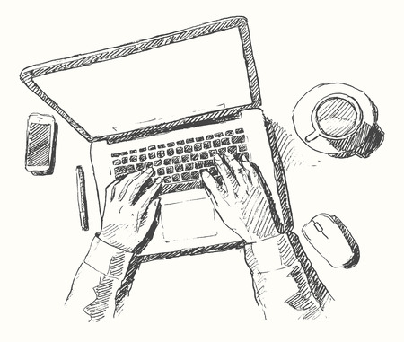 Illustration pour Sketch of hands with computer man doing office work top view hand drawn vector illustration - image libre de droit