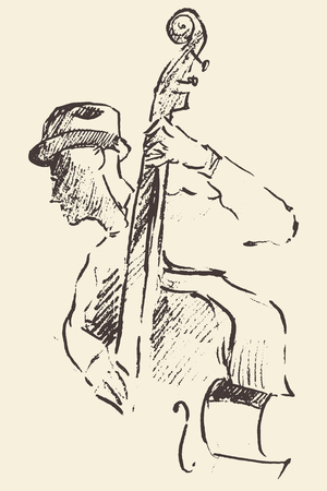 Concept for jazz poster Man playing double bass Vintage hand drawn illustration sketch