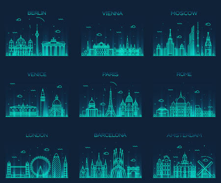 Europe skylines detailed silhouette Berlin Vienna Moscow Venice Paris Rome London Amsterdam Barcelona Trendy vector illustration line art style