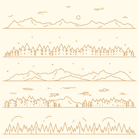 Illustration pour Set of horizontal abstract banners of mountains with fir forest design elements vector illustration linear style - image libre de droit
