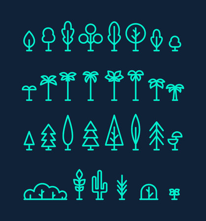 Illustration for Set kinds trees palms fir spruces bushes cactus linear - Royalty Free Image