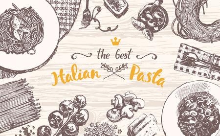 Vektor für Hand drawn vector illustration of an Italian pasta on a wooden table top, sketch - Lizenzfreies Bild