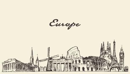 Photo pour Europe skyline vintage vector engraved illustration hand drawn sketch - image libre de droit