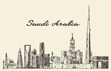 Skyline of Saudi Arabia vintage vector engraved illustration hand drawn sketch