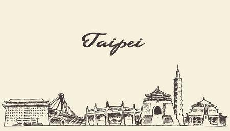 Illustration pour Taipei skyline vintage vector engraved illustration hand drawn sketch - image libre de droit