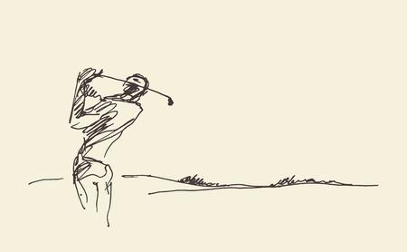 Sketch of a man hitting golf ball. Vector illustration