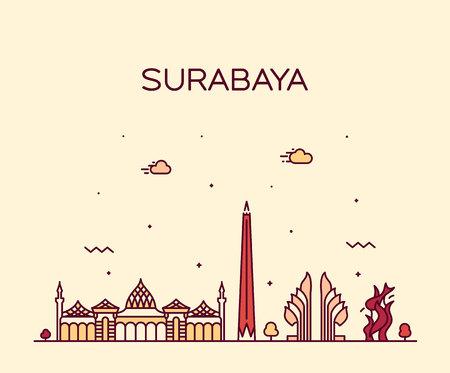 Illustration pour Surabaya skyline, East Java, Indonesia. Trendy vector illustration linear style - image libre de droit