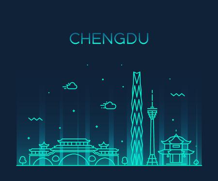 Illustration pour Chengdu skyline, Sichuan province, China. Trendy vector illustration linear style - image libre de droit