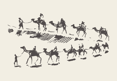 Illustration pour Caravan with camels in desert, hand drawn vector illustration, sketch - image libre de droit