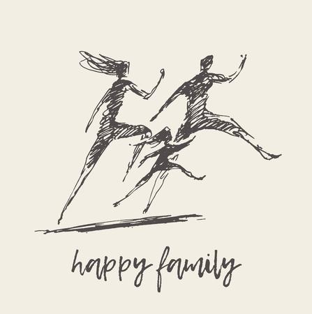 Illustration pour Mother father child silhouette logo family vector - image libre de droit