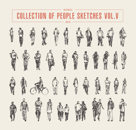 Illustration pour Collection of people sketches vector hand drawn - image libre de droit