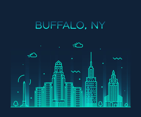 Illustration for Buffalo skyline, New York, USA. Trendy vector illustration linear style - Royalty Free Image