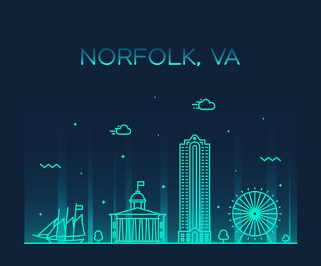 Illustration pour Norfolk skyline Virginia USA vector linear style - image libre de droit