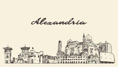 Illustration pour Alexandria skyline Egypt hand drawn vector sketch - image libre de droit