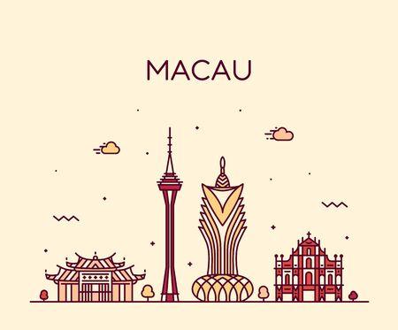 Illustration pour Macau skyline Peopl s Republic China vector linear - image libre de droit
