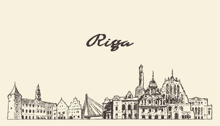Illustration pour Riga skyline, Latvia, hand drawn vector sketch - image libre de droit