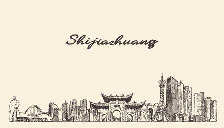 Illustration pour Shijiazhuang skyline Hebei China a vector sketch - image libre de droit