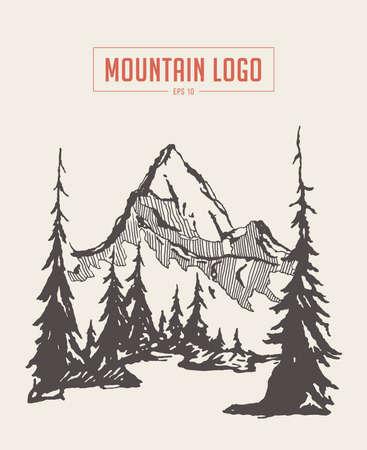 Illustration pour Two mountains spruce forest river vector sketch - image libre de droit