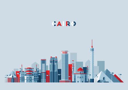 Illustration pour Cairo skyline, Egypt vector illustration, flat - image libre de droit