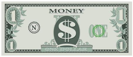 Vektor für Game money - one dollar bill - Lizenzfreies Bild
