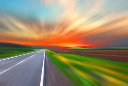 Blurred road and blurred sky with sunset