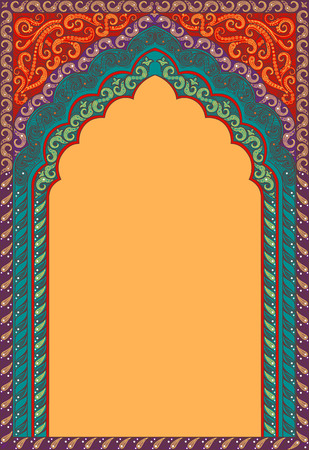 Foto de Vector Indian decorative arch. Shades of colors: red, orange, turquoise. - Imagen libre de derechos