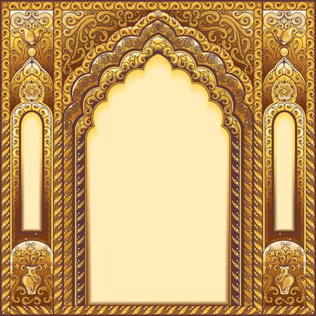 Illustration pour Vector Indian ornamented arch. Color Gold. - image libre de droit