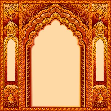 Illustration pour Arch with Oriental patterns. Colors orange and gold. The Central block of text. - image libre de droit