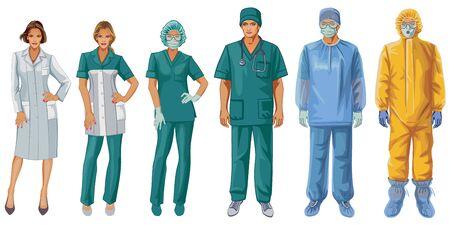 Illustration pour Uniforms of doctors and nurses. Protective suit. - image libre de droit