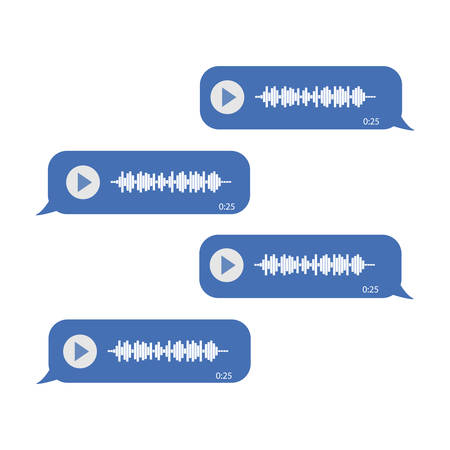 Chat on voice messages. On a white background. Blue messages