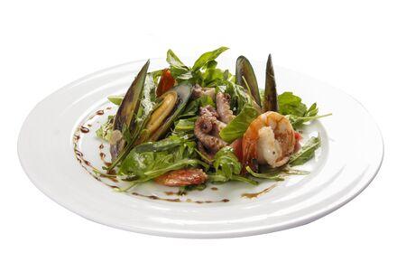Photo pour Seafood salad. A traditional Spanish dish. On a white background - image libre de droit