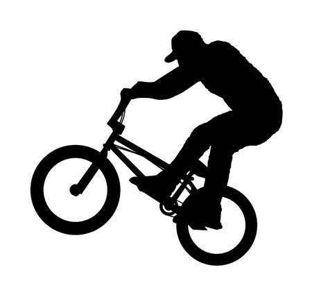 An abstract vector illustration of a BMX rider during a Bunny Hop.