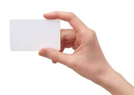 Photo pour   Color photograph of women's hands with a credit card       - image libre de droit