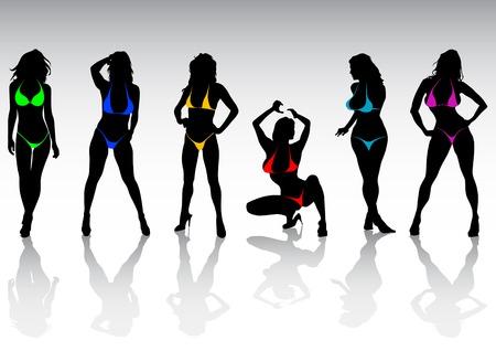 Vector silhouettes of girls in bikini at the beach