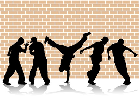 Vector image of hip hop dancers. Silhouettes on the background of wall