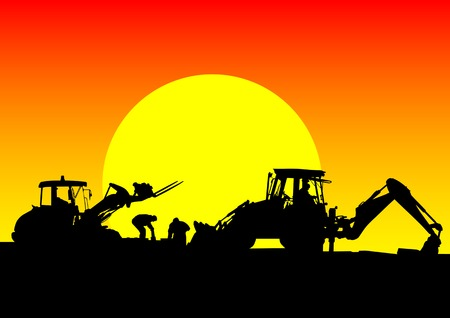 drawing of a tractor for construction work. Silhouette on sunset