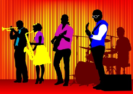 drawing concert of jazz music. Silhouettes on color background