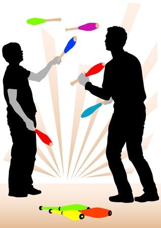 Vector image of jugglers on representation