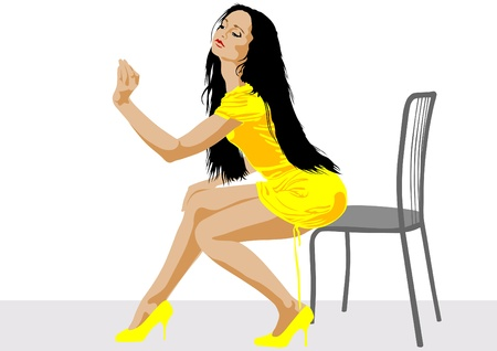 Vector drawing beautiful girl in yellow dress