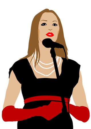 Vector image of young singers with microphones