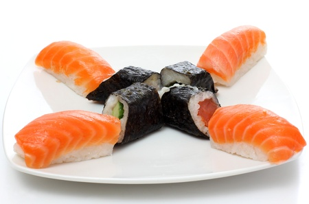 fish sushi on a plate