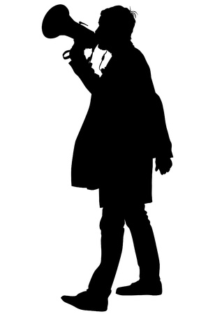 drawing of an adult man with a megaphone