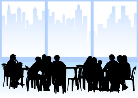 Illustration pour  drawing people in cafes. Silhouettes of people in urban life - image libre de droit