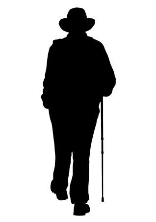 Vector drawing of an elderly man walking