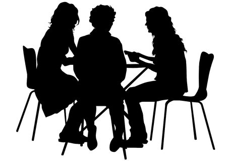 Photo for Vector drawing people in cafes. Silhouettes of people in urban life - Royalty Free Image