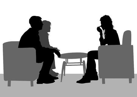 Illustration pour Vector drawing of people talking in their seats - image libre de droit