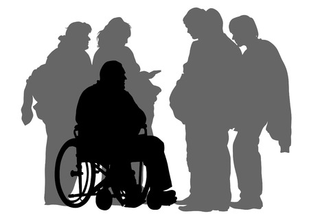 Elderly people with wheelchair on white background