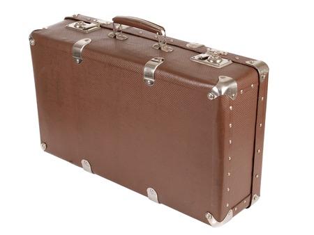 Retro old suitcase on white background