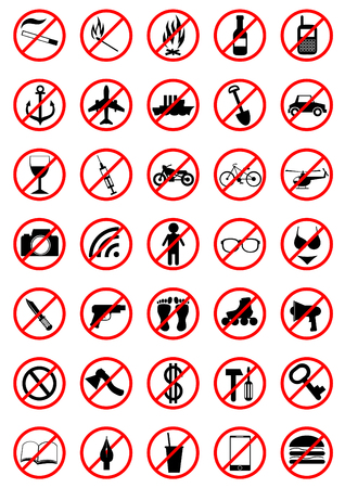 Prohibition sign on a white background