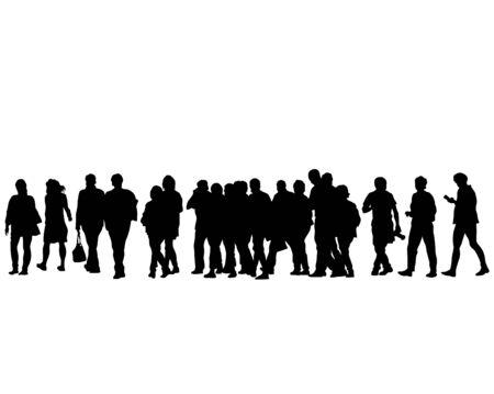 Illustration pour Crowds people at street on white background - image libre de droit